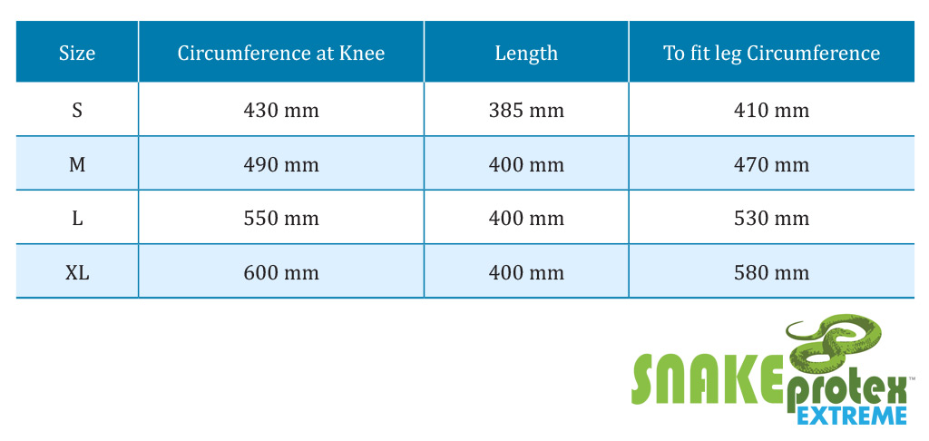 SnakeProtex Extreme Size Chart